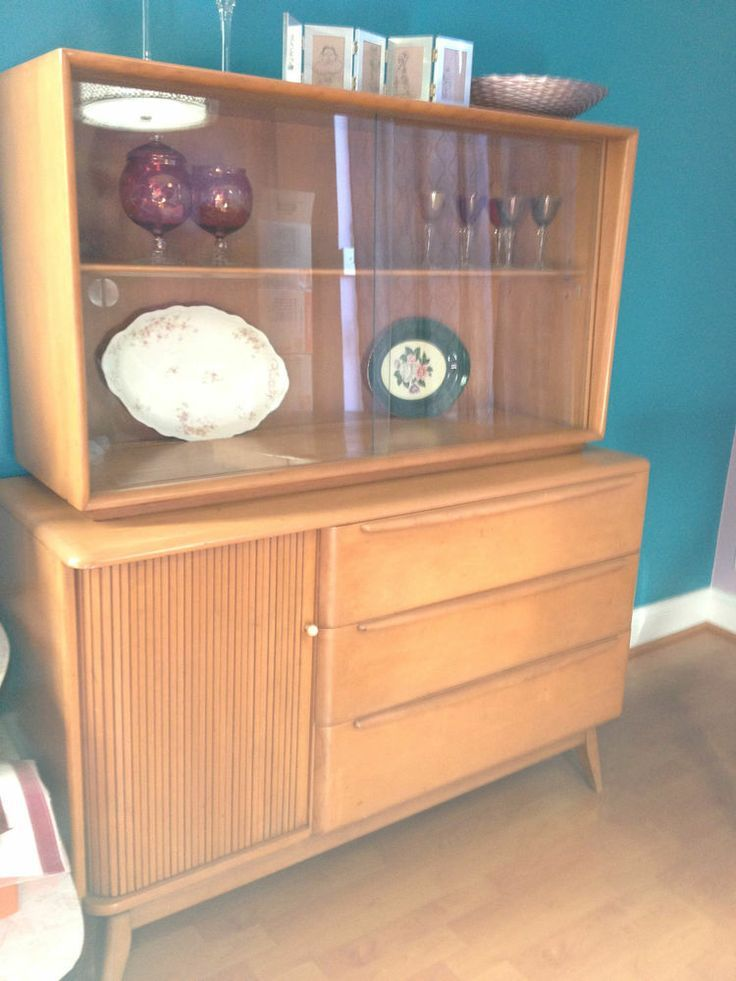 vintage heywood wakefield tambour buffet u0026 hutch mid century