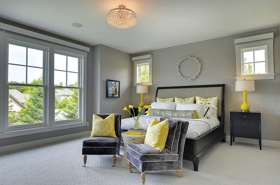 Cheerful Sophistication: 25 Elegant Gray and Yellow Bedrooms ...