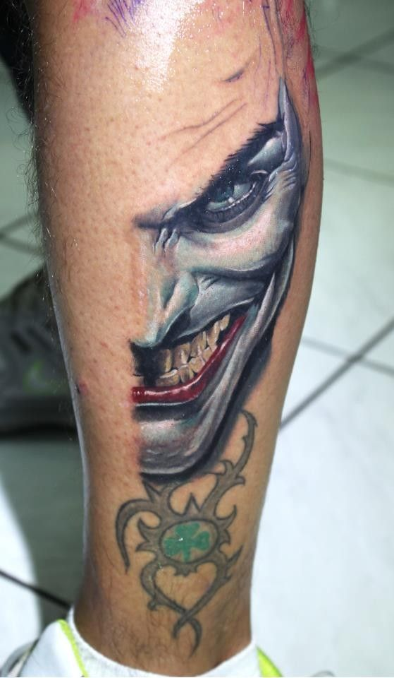 Insane Joker Face Tattoo Design Real Photo Pictures Images And