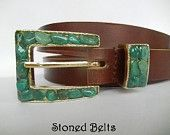 Women's Chic belt with Green Adventurine gemstones in Gold Belt Buckle with brown leather belt. https://www.etsy.com/shop/StonedBelts