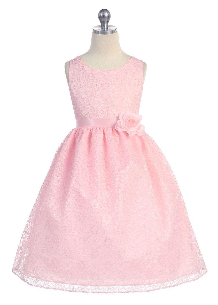 Coral Solid Lace Flower Girl Dress with Satin Ribbon | Graduación ...