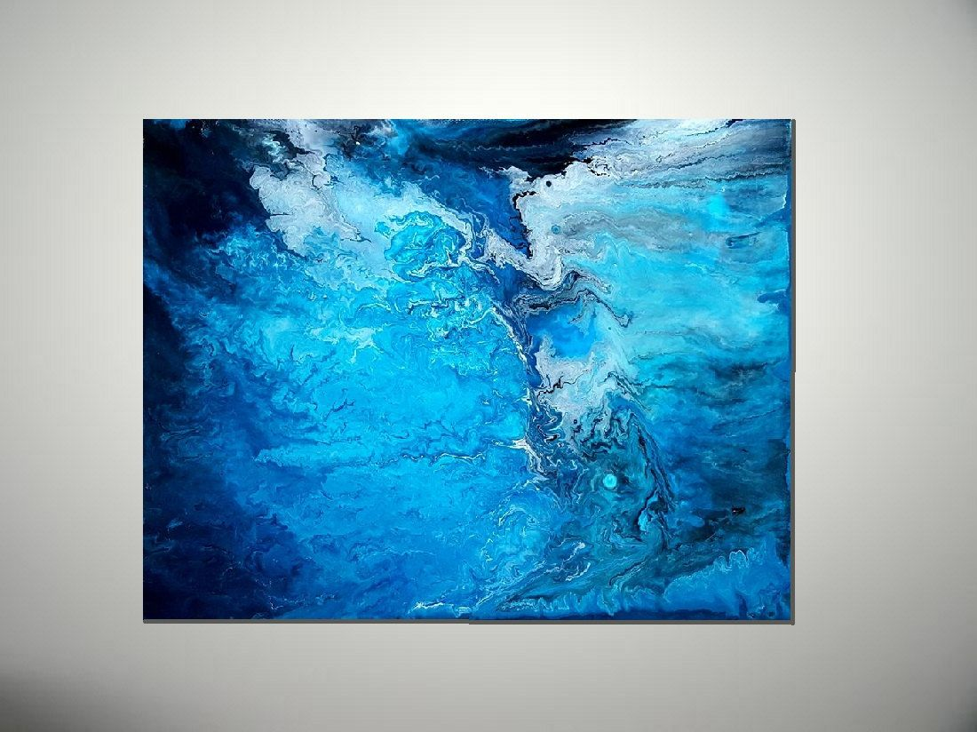 Blue Abstract Art   Blue Abstract Painting   Modern Painting   Blue Office  Decor   Modern