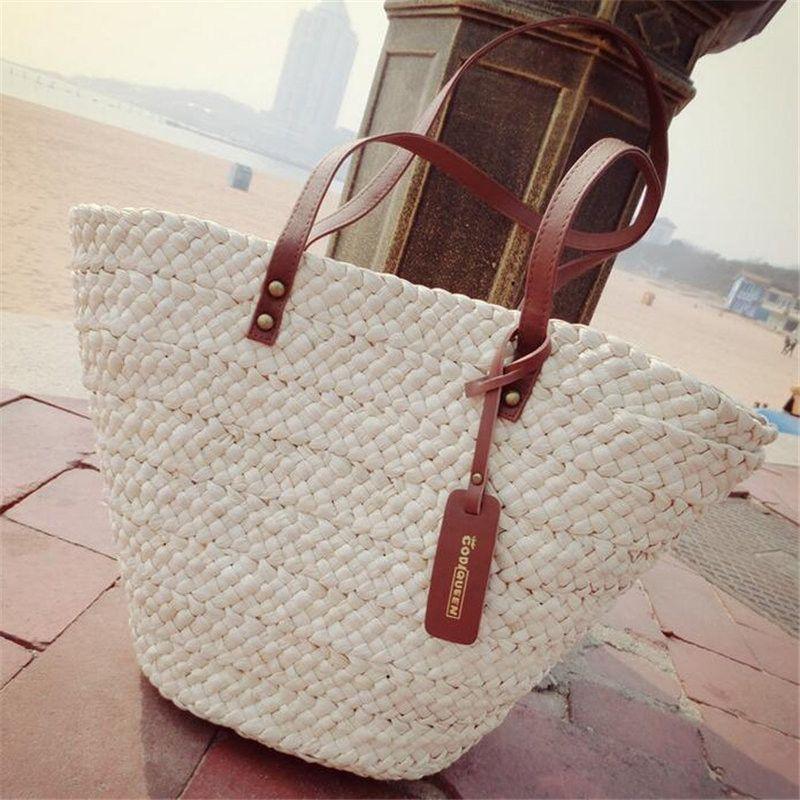 a9376cd087 Hot Summer Beach Women Handbag Lady Straw Shoulder Bag Brand Design Beige  Shooping Bag Vintage Tassel Handmade Woven Bolsa Tote