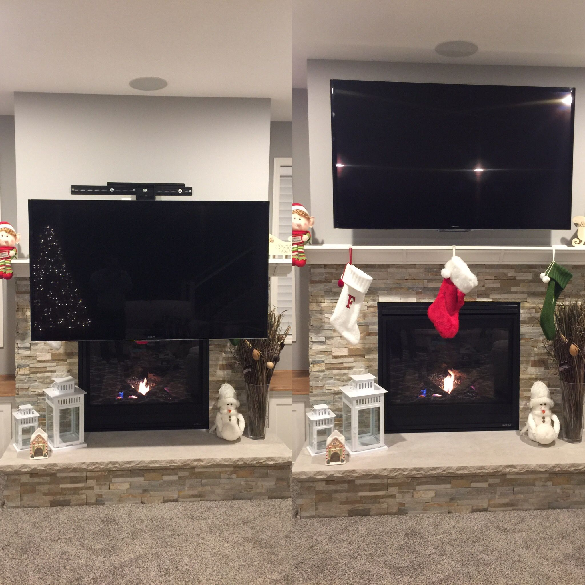 Down and out swivel mount home - Tv wall mount over fireplace ...
