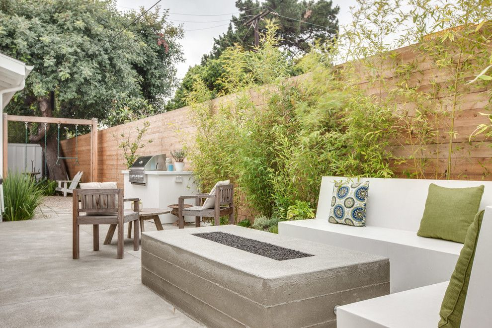 Concrete Fire Pit Patio Contemporary With Bamboo Board Formed Cement