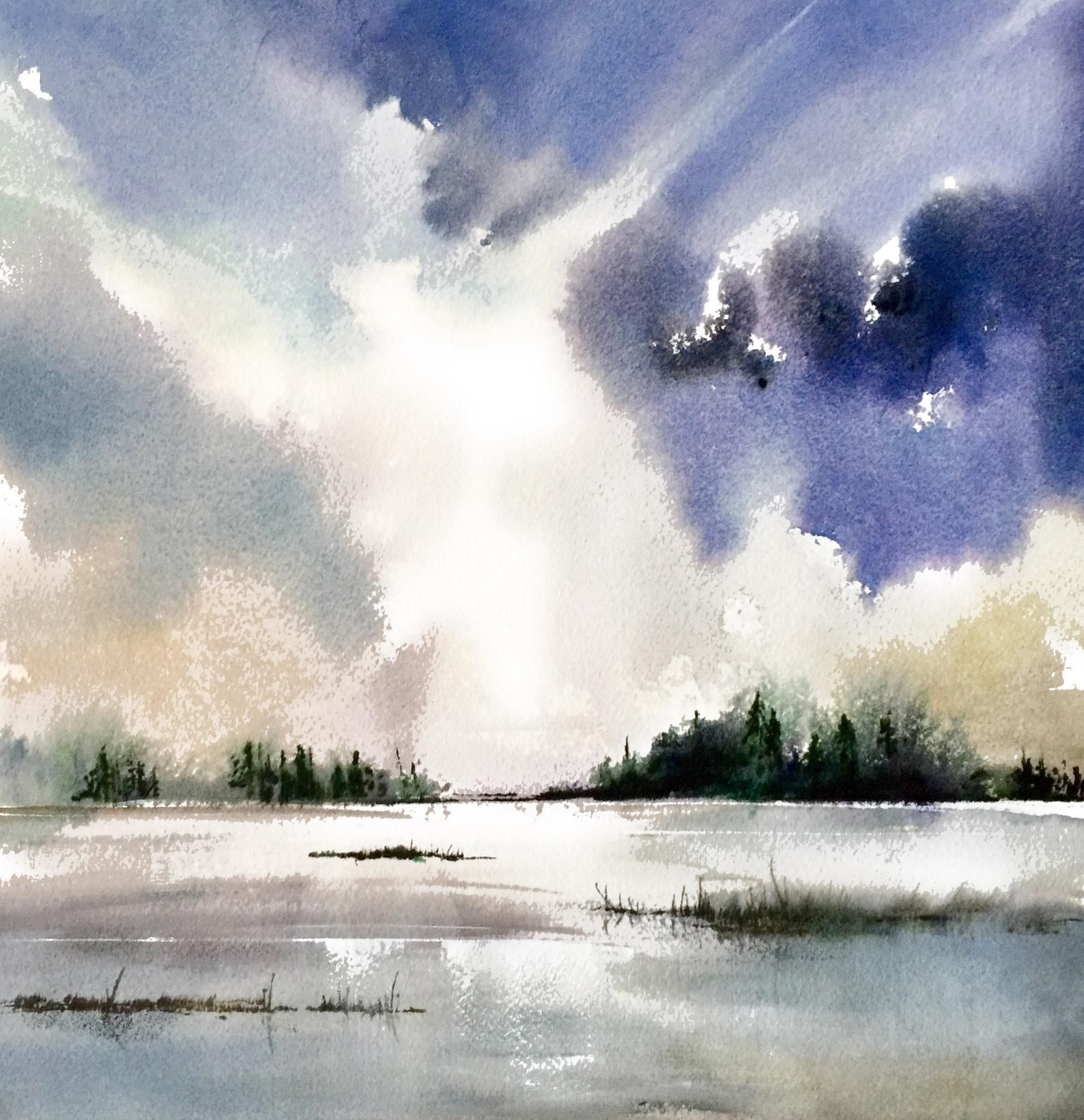 Cloud Watercolor Print Cloud Painting Nature Decor Moody