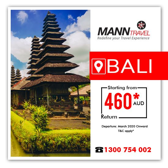 Book Flights to ✈️ BALI ✈️ @ $460. Exclusively on Mann Travel!  Call 1300 754 002 to book airtickets before it's sold out!  #manntravel #airfaredeals #cheapflights #bali #flights  #savemore #travel #offers #australia #travelagency