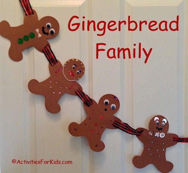 Gingerbread Garland Family - printable gingerbread man - gingerbread man template