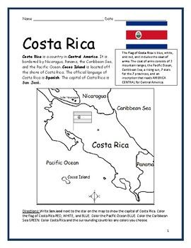 costa rica printable handouts with map and flag spanish for kids map costa rica geography. Black Bedroom Furniture Sets. Home Design Ideas