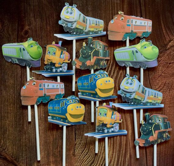 12 CHUGGINGTON Cupcake and Cake Toppers by TheTopperShoppe
