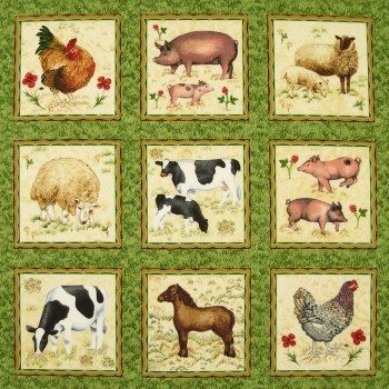 Buttercup Farm - LABELS - Makower (price per unit) £5.75  (Labels or small printed blocks are used for various projects from making quilted cards to inserting within a larger quilt project.)  These labels show sheep, pigs, cows, chickens, a horse or pony with pretty little flowers. Designed by Valerie Greeley - each label is approximately three and a quarter inches square and set against a green grass ground.  To see other Buttercup Farm fabrics from this collection go to FABRIC then NOVELTY…