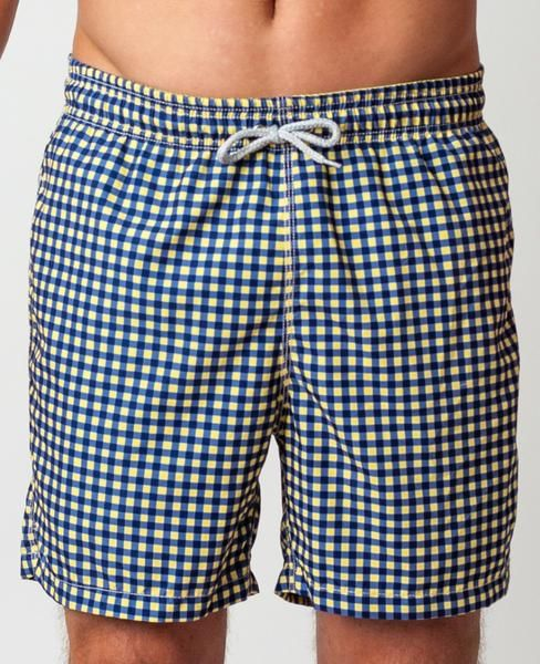 41ede873d2 Gingham Swim Trunks - Navy/Yellow - Michael's Swimwear - use code SUMMER50  for 50% OFF! Find this Pin and more ...