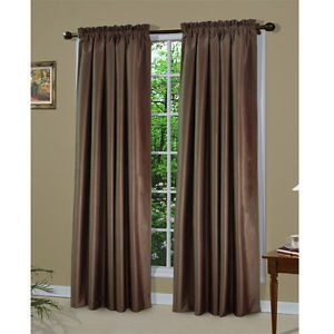 2 Pc Cinderella Faux Silk Window Panel Curtain D Rod Pocket 90 Long Taupe Ebay