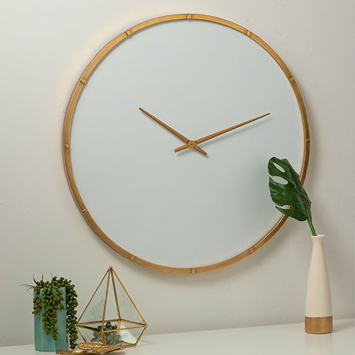 Cooper Classics 41481 Wade Modern White And Gold Wall Clock Bellacor Gold Wall Clock Wall Clock Oversized Wall Clock