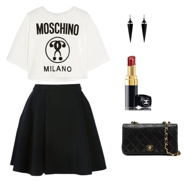 """Senza titolo #1"" by valentinamasiero ❤ liked on Polyvore featuring Avelon, Moschino, Chanel and Oasis"