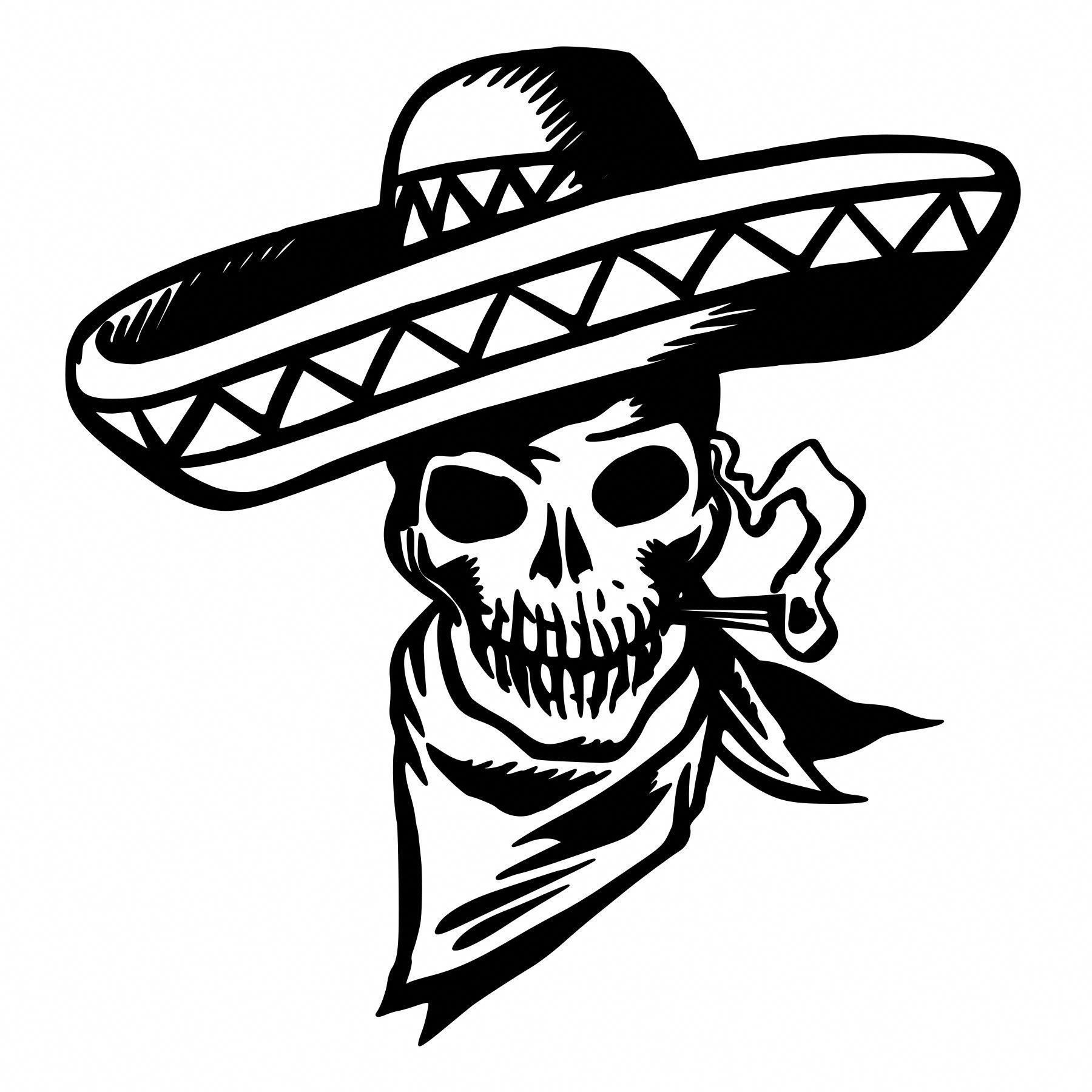 Sombrero skull die cut decal car window wall bumper phone laptop maoritattoos
