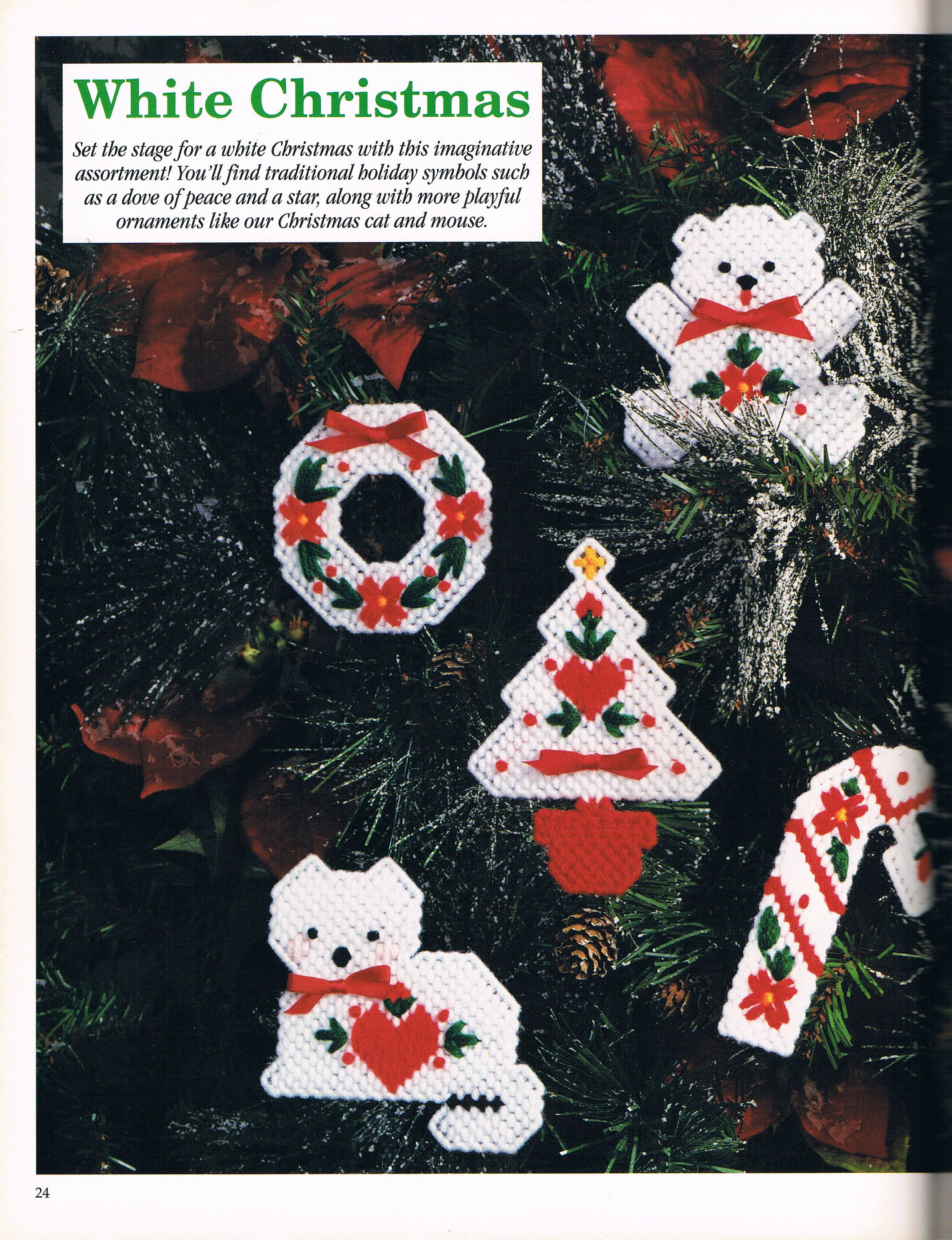 White Christmas Ornaments 1 4 Plastic Canvas Ornaments Plastic Canvas Christmas Christmas Stocking Ornament