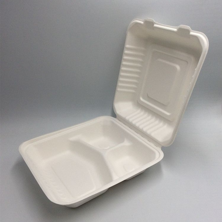Biodegradable 3 Compartments Food Container