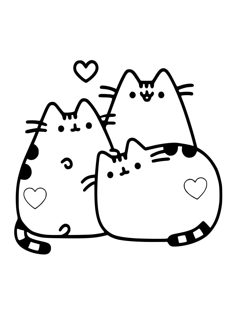 Dibujo Tres Gatos Corazones Kawaii Dibujos Kawaii Gatos Kawaii