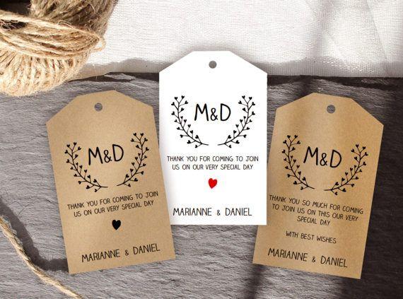 Printable wedding tag, favor bag label template, monogram tag