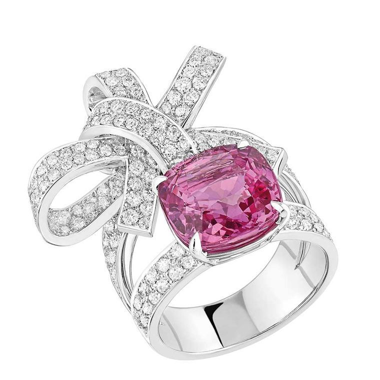 Chanel Ruban high jewellery ring set with an 8.00ct cushion-cut pink sapphire and 174 brilliant-cut diamonds.