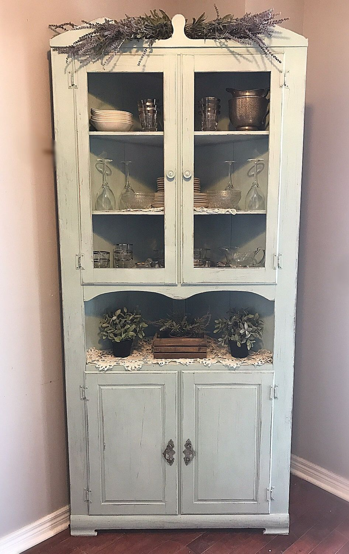 corner hutch kitchen mats costco shabby cabinet vintage chippy storage