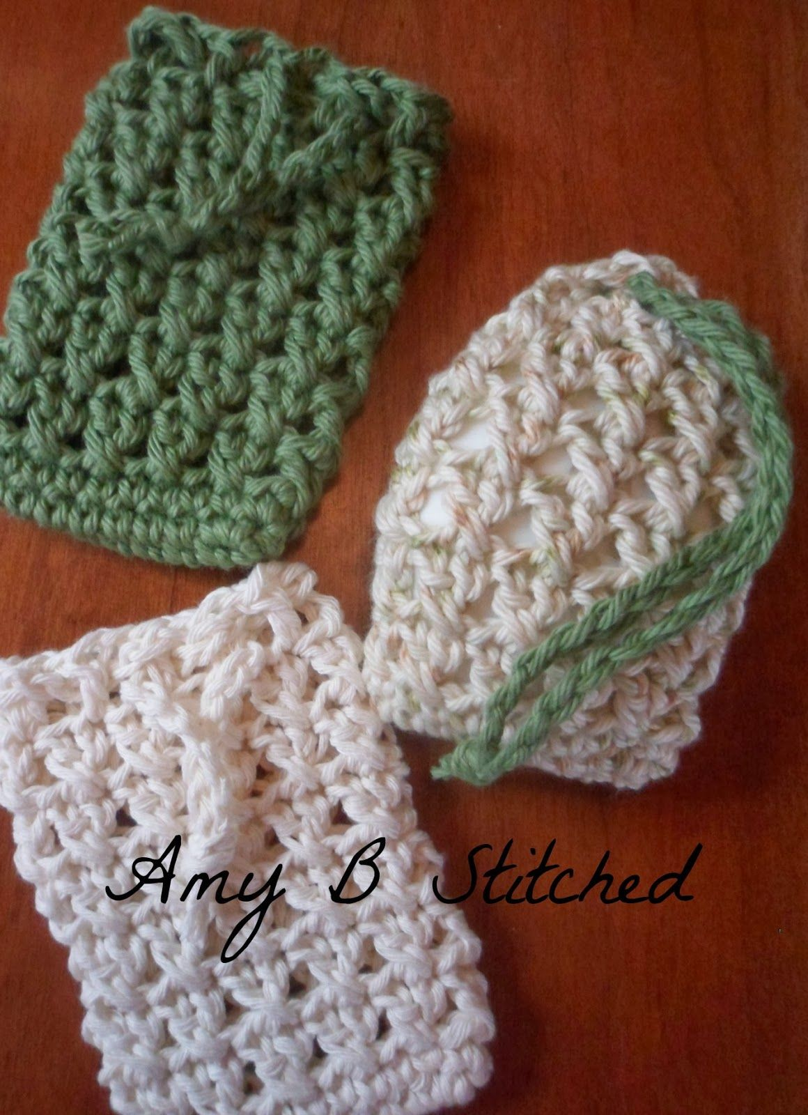 Knitted Soap Holder Pattern : A Stitch At A Time for Amy B Stitched: Cross Stitch Soap Saver Pouch Crochet ...