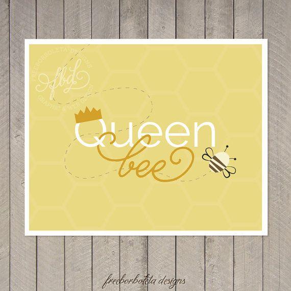 Queen Bee Art Print Nursery Art Toddler Girl by freeborboleta ...