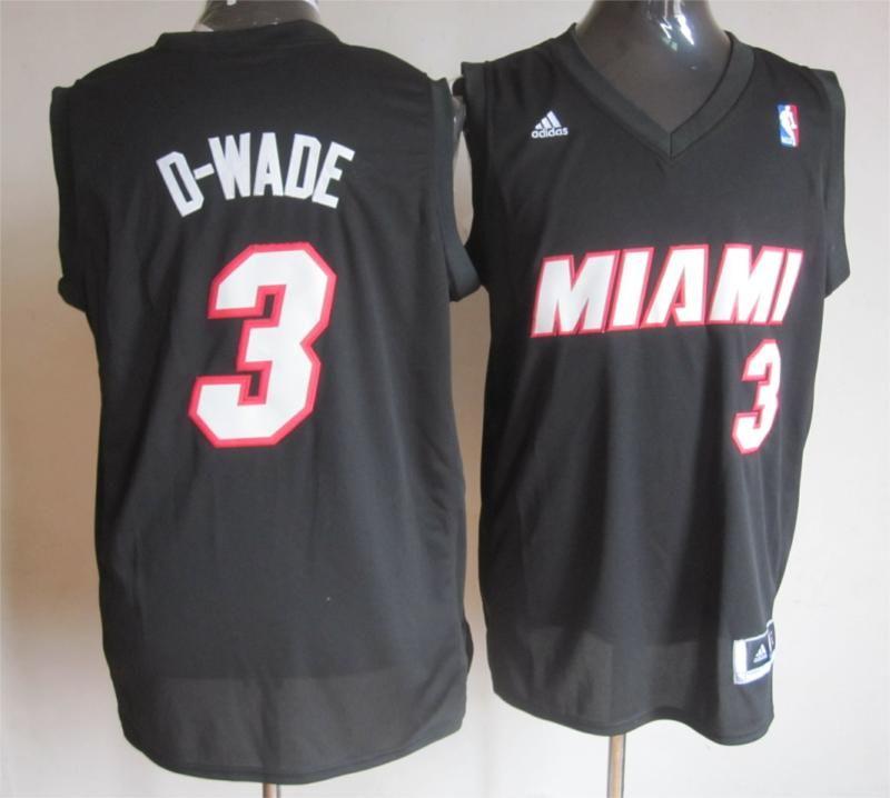 Adidas NBA Miami Heat 3 D Wade Schwarz Road Fashion Swingman Jersey
