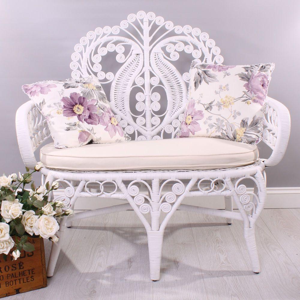 Peachy New Shabby Chic White Rattan Wicker Cane Small Double Sofa Machost Co Dining Chair Design Ideas Machostcouk