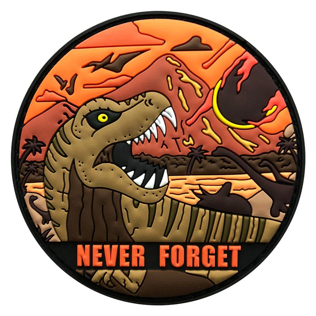 Dinosaur Never Forget Asteroid Humor Patch Pvc