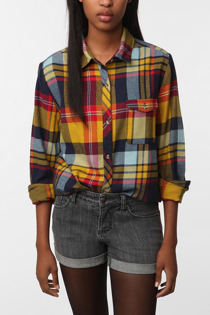 Plaid flannel shirt.
