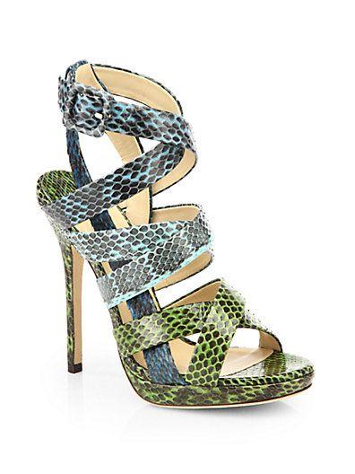 f86a34e52b8f Jimmy Choo - Dido Snakeskin Platform Sandals - Saks.com