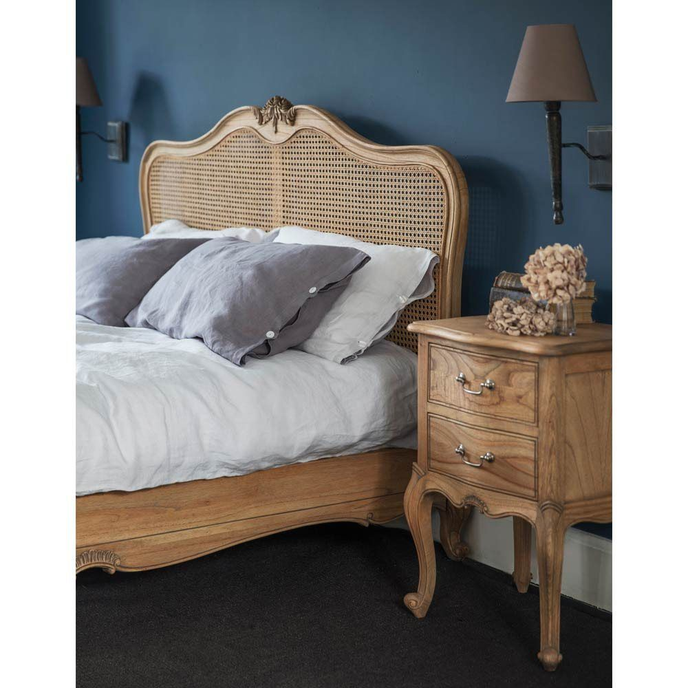 French Bed Montgomery Mahogany Rattan Super King Size