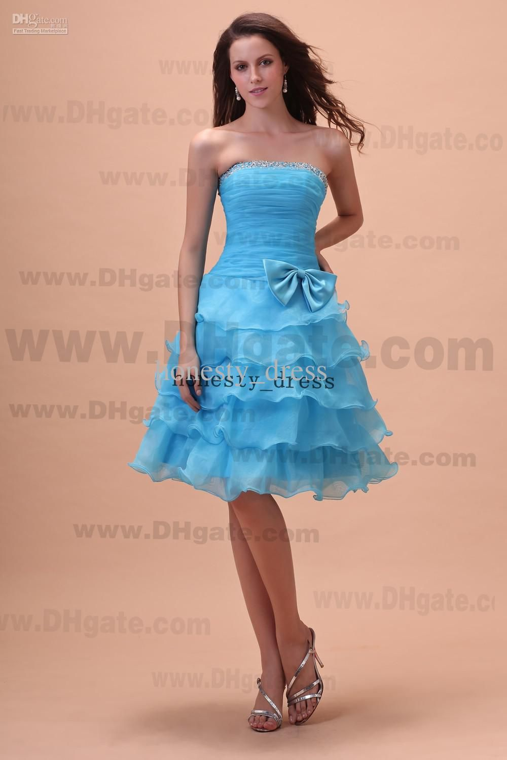 Sassy Light Blue A Line Organza Junior Bridesmaid Dress Strapless ...