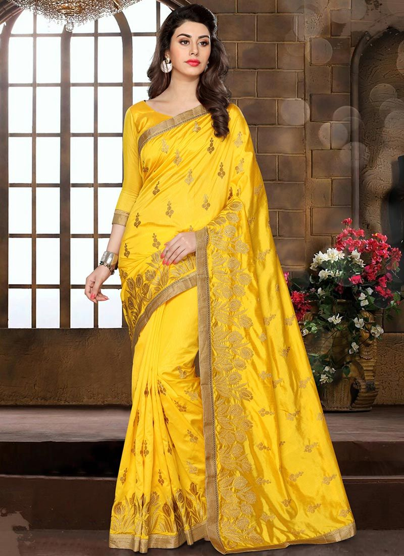 Yellow silk saree peppy yellow embroidered art silk saree  indian clothes i like