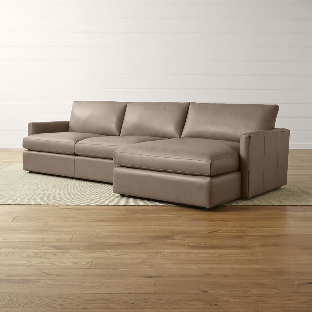 Lounge ii petite leather 2 piece right arm chaise sectional sofa crate and barrel