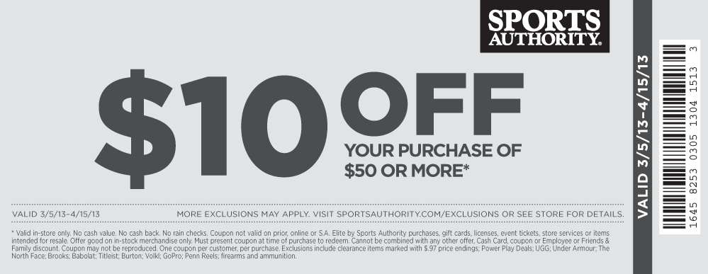image about Sports Authority Coupons Printable titled $10 off $50 at Sports activities Authority coupon by The Discount coupons Application