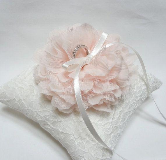 Blush ring pillow ring bearer pillow wedding ring pillow white