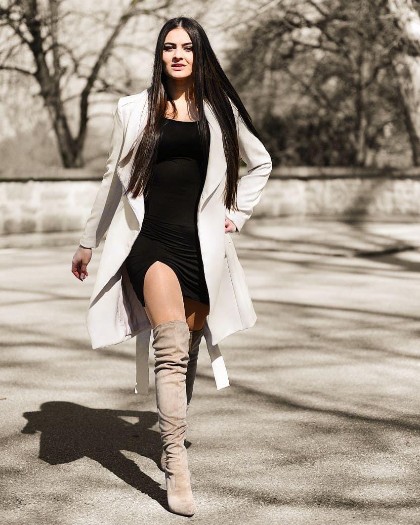 thigh high boots on shiny tan pantyhose with a short dress ... ff460b4dc