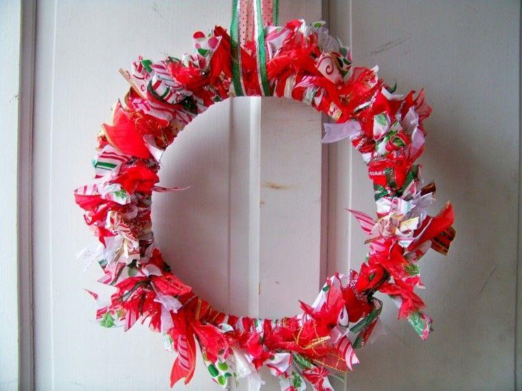 guirnalda navidad tiras tela rojas