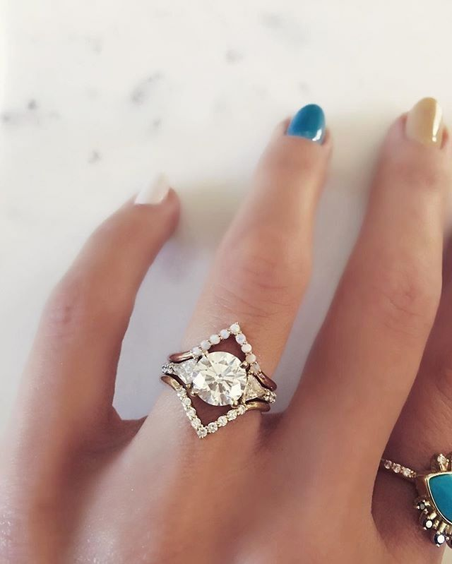 Triangle Bands Australian Opals Set In 14k Rose Gold White Diamonds Yellow Diamond Engagement Ring With Nesting Rings