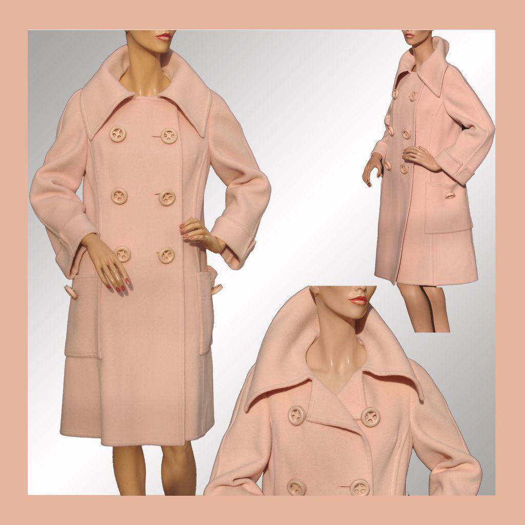 Vintage Mod 1960s Coat Pink Wool Ladies' Size Medium - Vintage Fashions on Ruby Lane