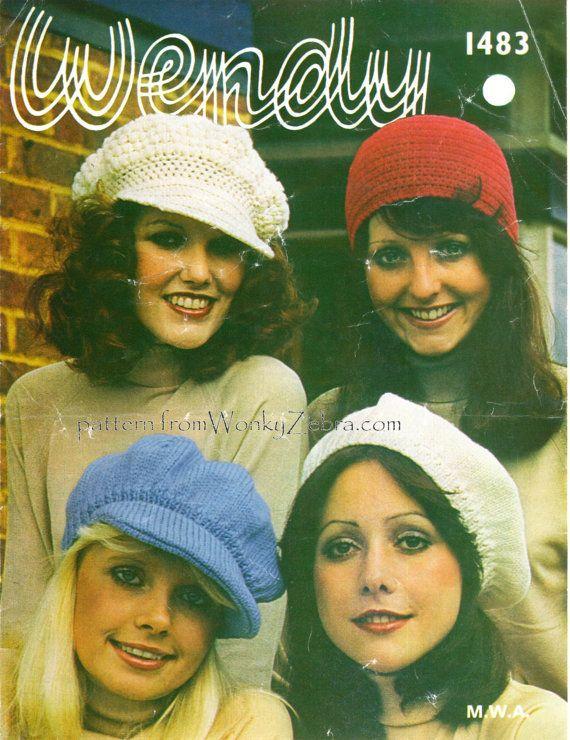 Vintage Crochet and Knit HATS Pattern PDF 431 from WonkyZebra