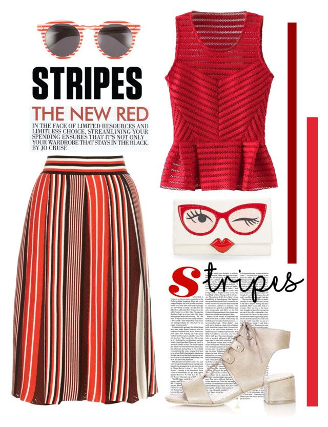 """Stripes"" by bysc ❤ liked on Polyvore featuring MSGM, Kate Spade, Topshop, ELLA, Illesteva and WithChic"