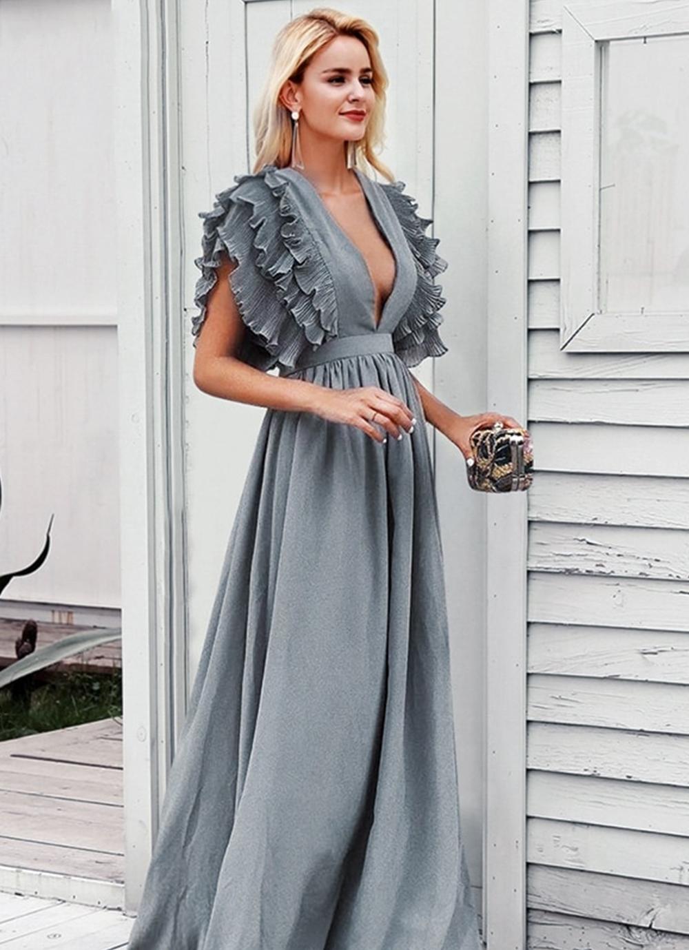 Elegant Ruffle Dress Elegant Ruffle Dress With Deep V Neck Ruffle Sleeves And Long Length Maxi Dress Women Long Dresses Ruffled Maxi Dress