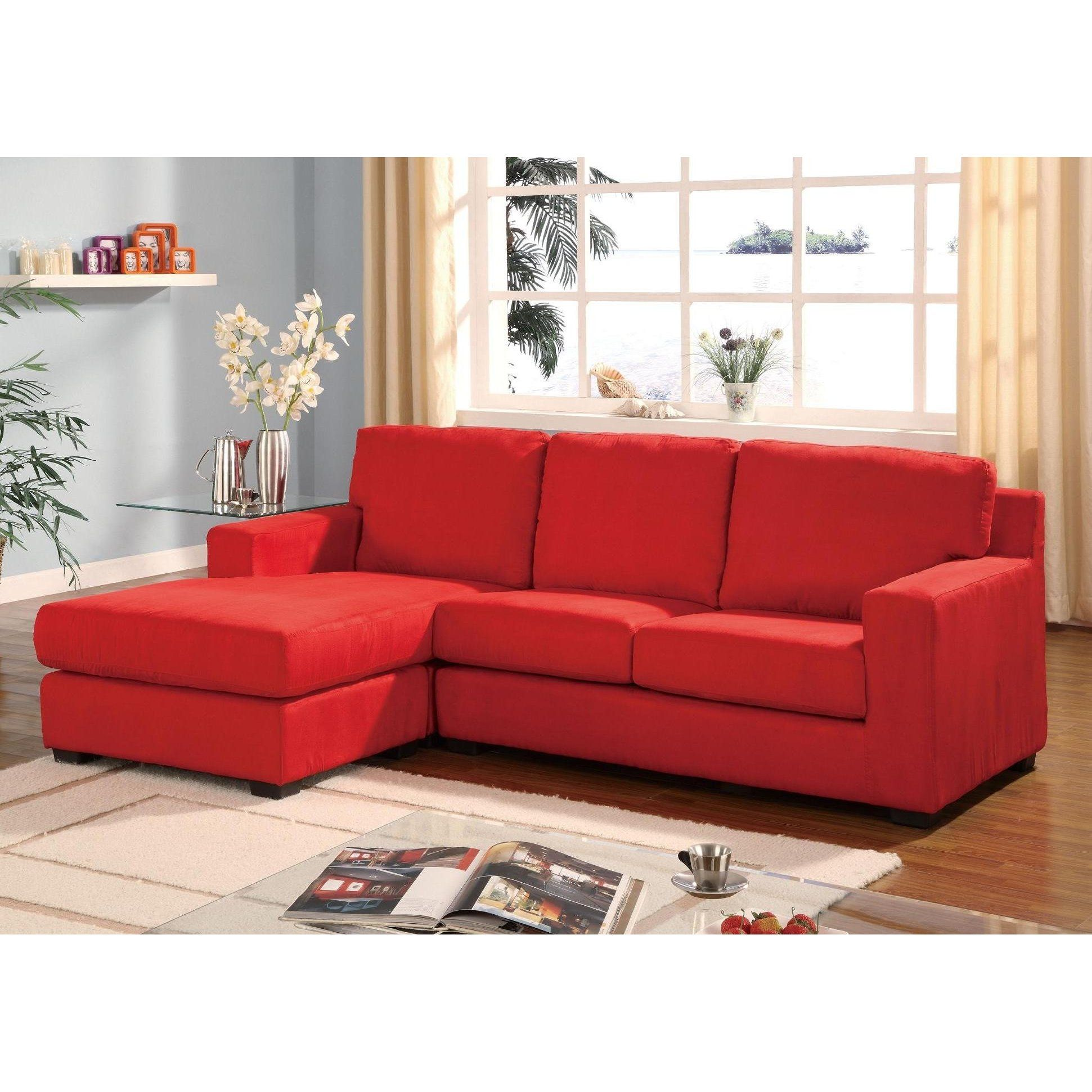 Red microfiber multifunction reversible sectional sofa for Microfiber sectional sofa