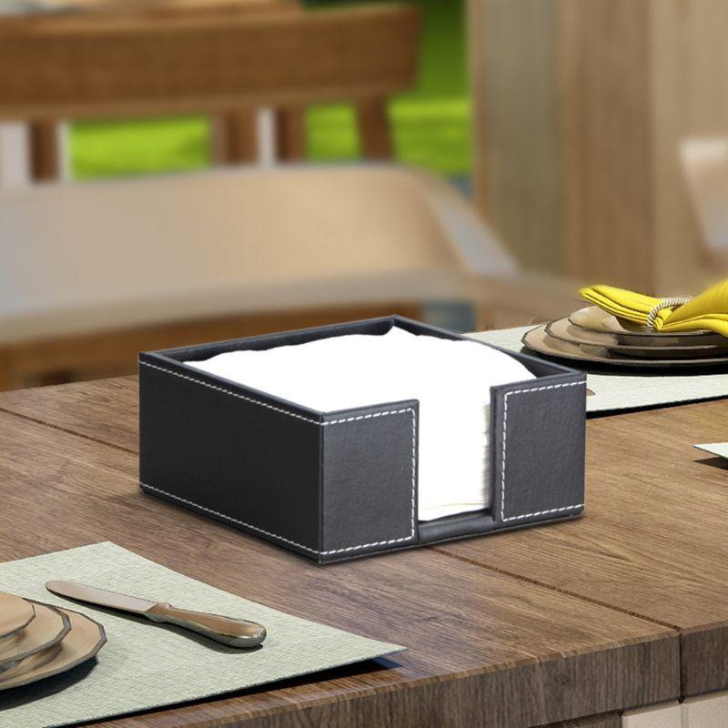 Pu Leather Square Cocktail Napkin Holder Tissue Box Paper Serviette Dispenser Bar Caddy For Dining Table In 2021 Cocktail Napkin Holder Napkin Holder Paper Serviettes