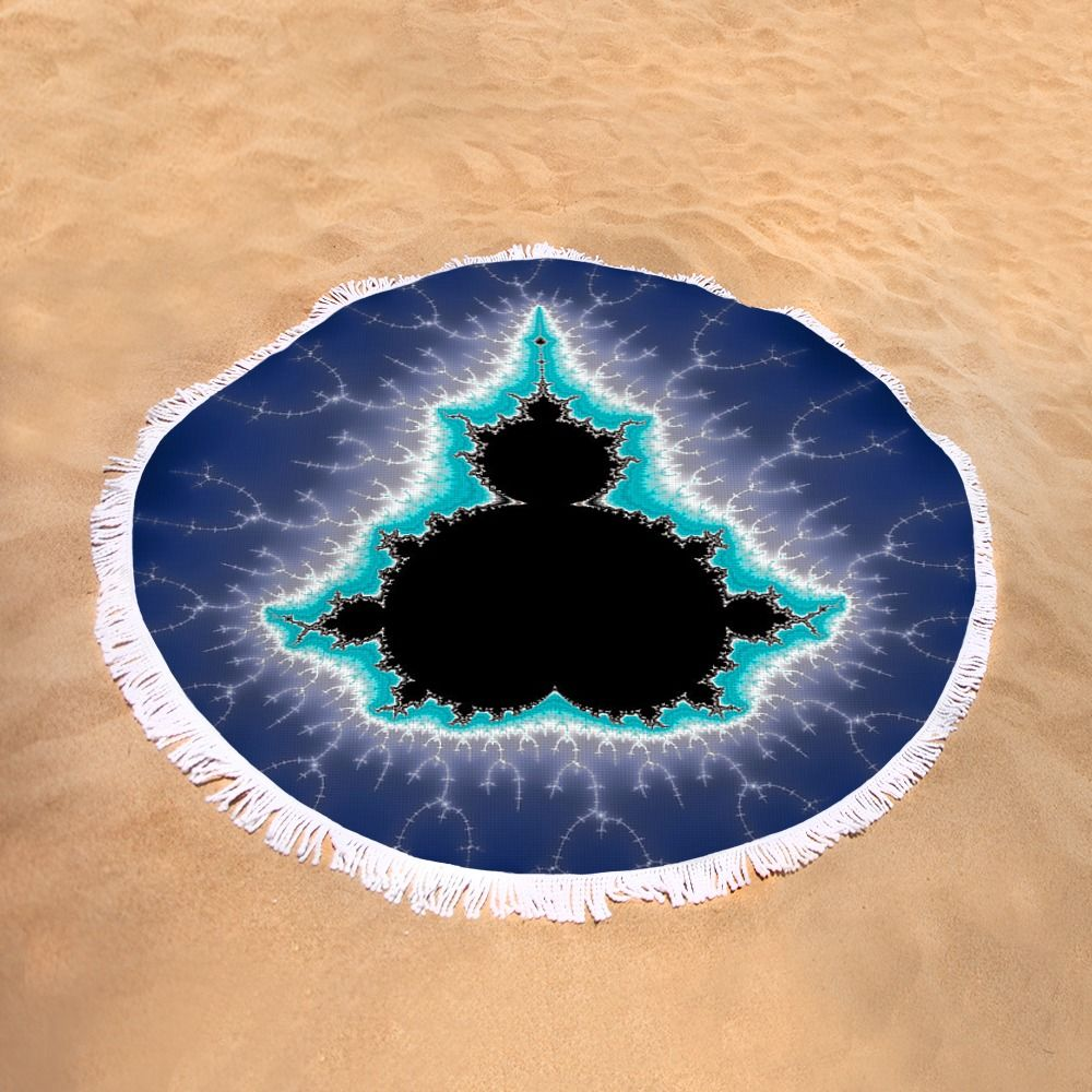 """Mandelbrot Round Beach Towel: Classic Mandelbrot set, here as a blue, black, white and turquoise picture full of power and energy. This roundie is perfect for a day at the beach, a picnic, an outdoor music festival, yoga or just general home decor. This versatile summer essential is a must-have this season! The beach towel is 60"""" in diameter and made from ultra-soft plush microfiber with a 100% cotton back. Matthias Hauser hauserfoto.com"""