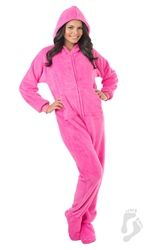 Prefect Pink Hoodie One Piece - Adult Hooded Footed Pajamas  1107a3a63